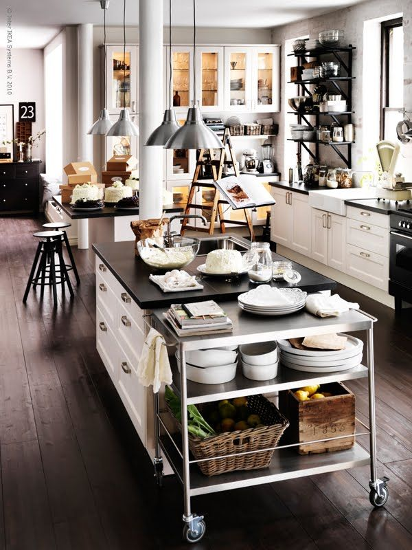 black + white kitchen w/industrial accents