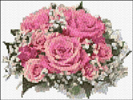 roses bouquet : free cross stitch chart and design by Ann Logan