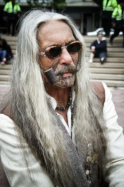 "Maori man with face tattoo called ""moko"" - Maori are indigenous people of New Zealand."