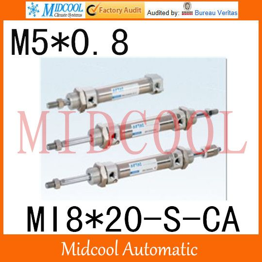 MI Series ISO6432 Stainless Steel Mini Cylinder  MI8*20-S-CA bore 8mm port M5*0.8 #Affiliate