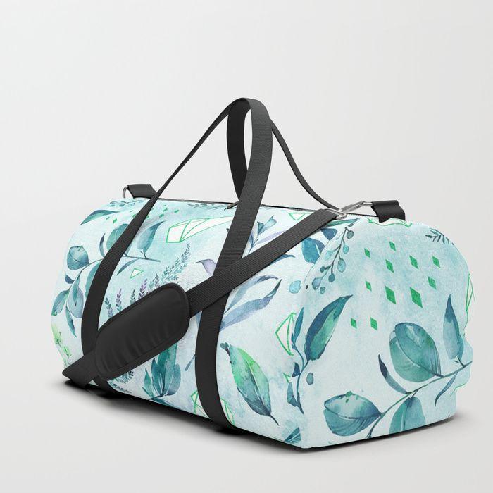 Teal geometric botanic Duffle Bag
