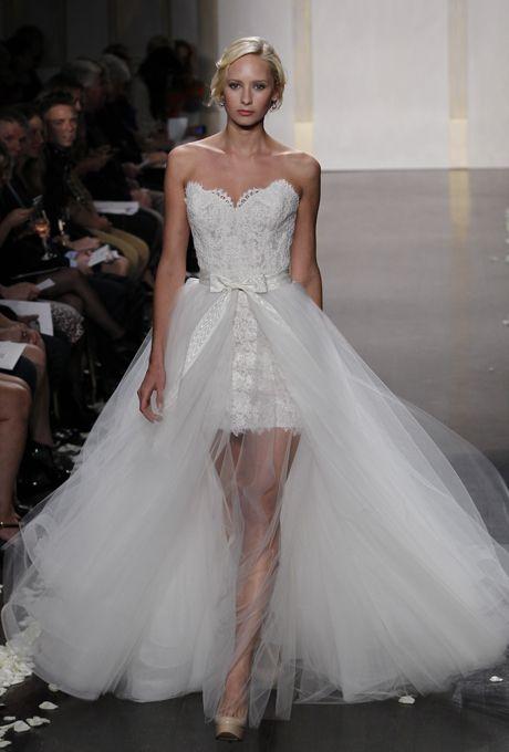 Brides: Tara Keely - Fall 2012. Style TK2210, strapless Alencon lace short sheath wedding dress with a floor-length tulle overskirt, Tara Keely