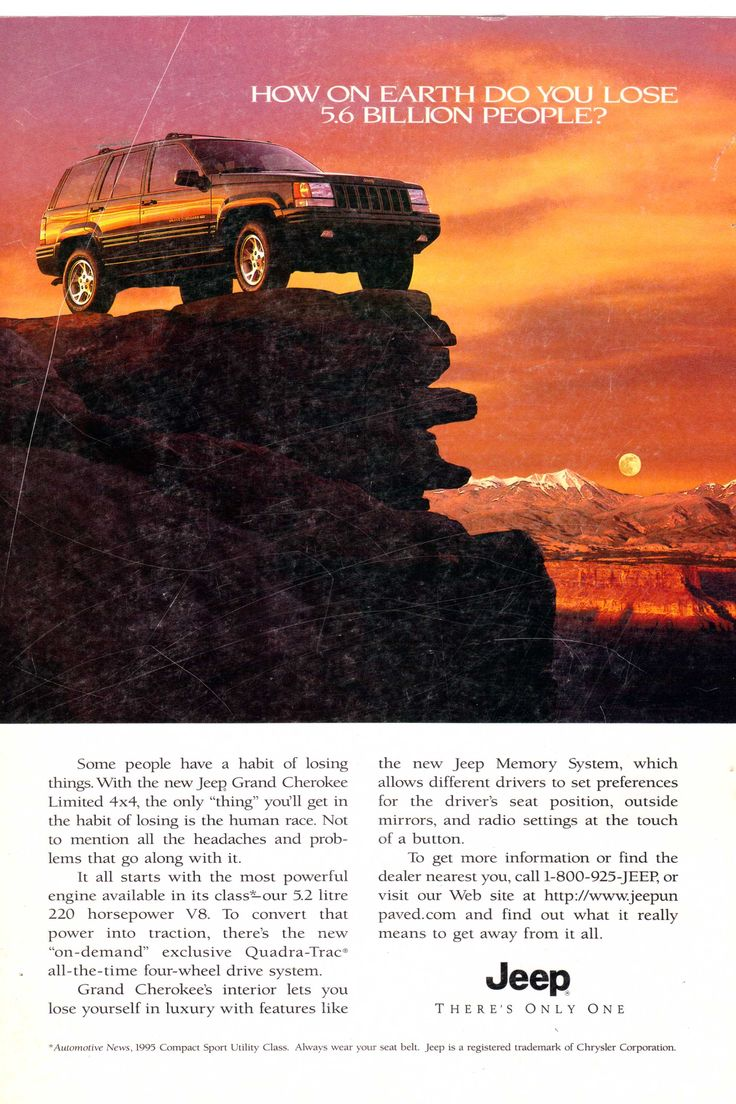 1995 jeep grand cherokee ad from national geographic october 1995