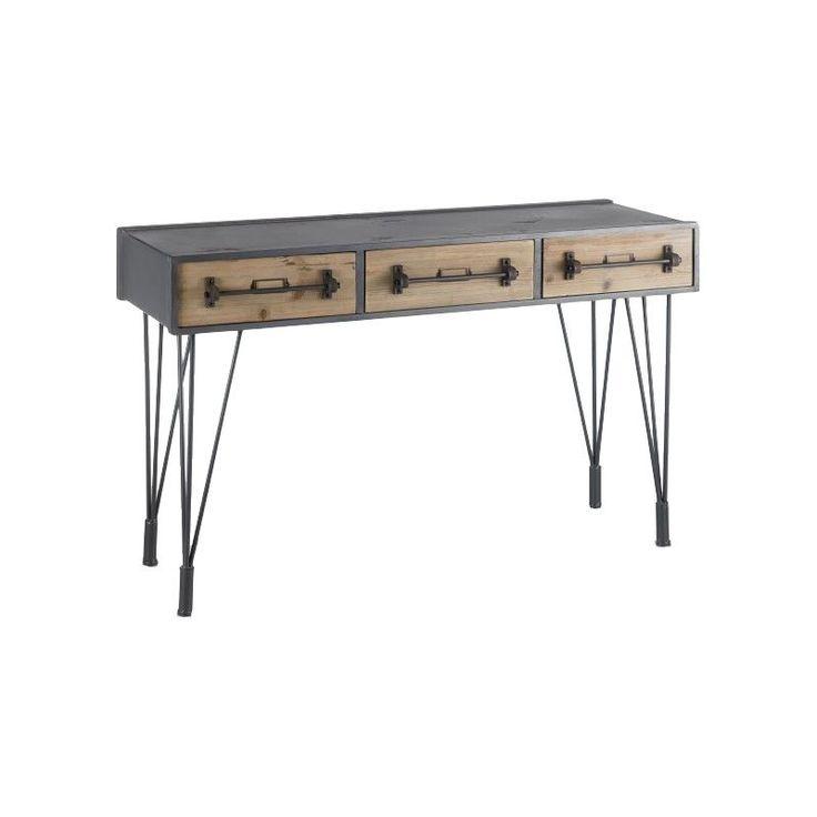 Console industrielle en métal en bois