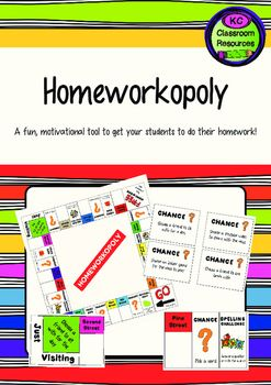 Ive used Homeworkopoly for a number of years as a motivational tool to encourage students to complete their homework. Students who completed their homework to a high standard got to play! Please note, I also solely use Chance cards to simplify the game.