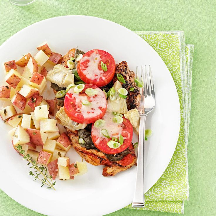 Margherita Chicken Recipe -Fresh basil gets all the respect in this super supper—even Forks will stand at attention when it hits the table. —Judy Armstrong, Prairieville, Louisiana