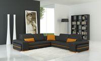 Divani Casa 5070C Modern Grey and Orange Leather Sectional Sofa - Stylish Design Furniture