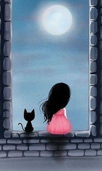 Fillette et chat devant un clair de lune