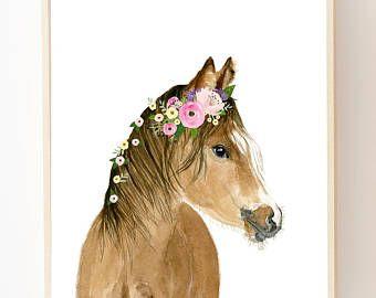 Aquarell Blumen Pferd, Bauernhof, Pferdemalerei, Aquarell Tier ...