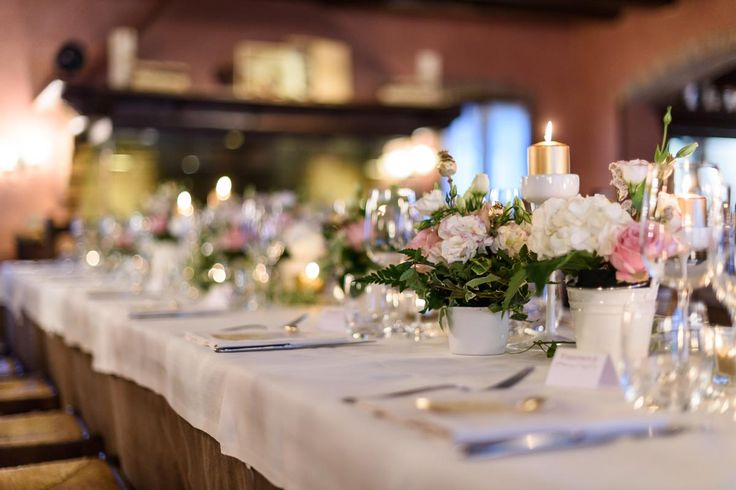 Table set up for golden wedding