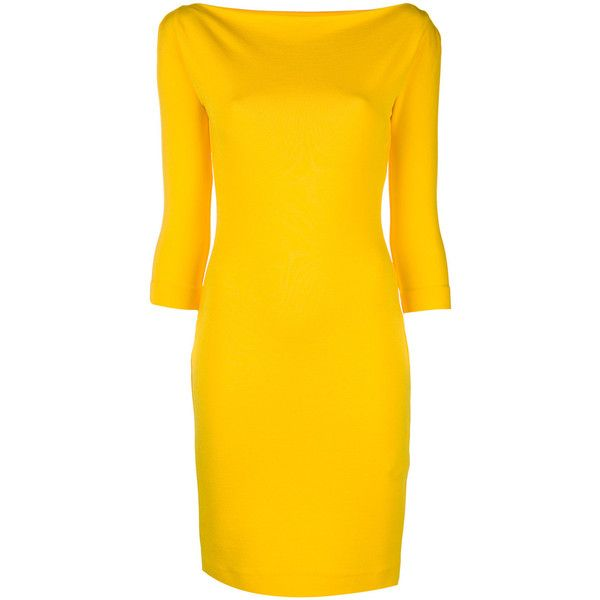 Dsquared2 boat neck dress ($820) ❤ liked on Polyvore featuring dresses, yellow dress, yellow evening dress, 3/4 sleeve cocktail dress, knee length evening dresses and evening dresses