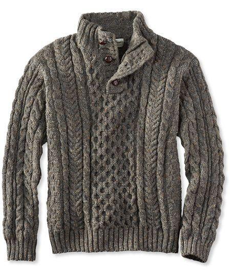 Heritage Sweater, Irish Fisherman's Button-Mock