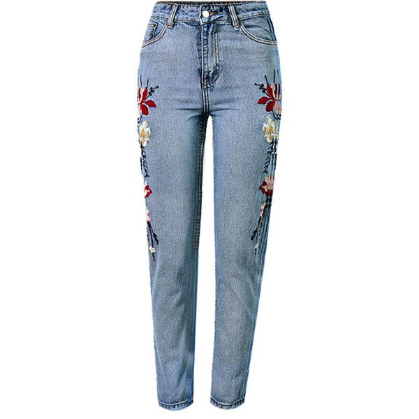 Light Blue Floral Embroidery Acid Wash High Waist Chic Jeans (2,075 PHP) ❤ liked on Polyvore featuring jeans, acid wash jeans, embellished jeans, high-waisted jeans, floral embroidered jeans and high rise jeans