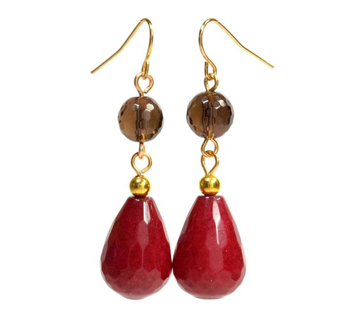 Dark Red Teardrop Faceted Jade and Black Smoky Quartz Gemstone Earrings, Gold Color Nickel Free:
