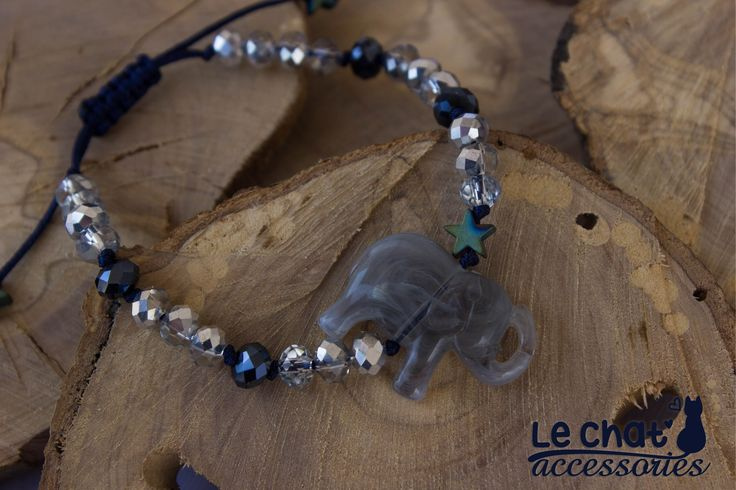 Boho chic shiny blue cord bracelet with little grey elephant...  #lechataccessories #grey #elephant #♥ #loveit #crystalbeads #bohochic #bohemian #hematitestar  © Danae Lolou  Find me on Facebook & Instagram : Le Chat Accessories for more photos. https://www.facebook.com/lechataccessoriesdanae/  https://www.instagram.com/lechataccessories/