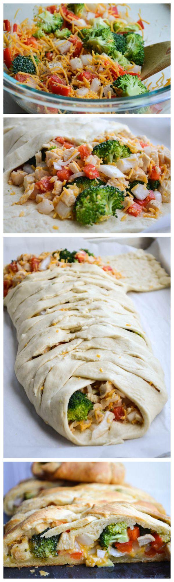 Broccoli & Chicken Braided Bread made from crescent rolls