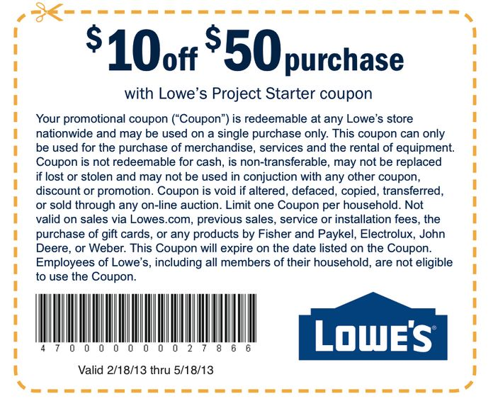 Lowe's Printable Coupons: $10 off $50 (Printable)