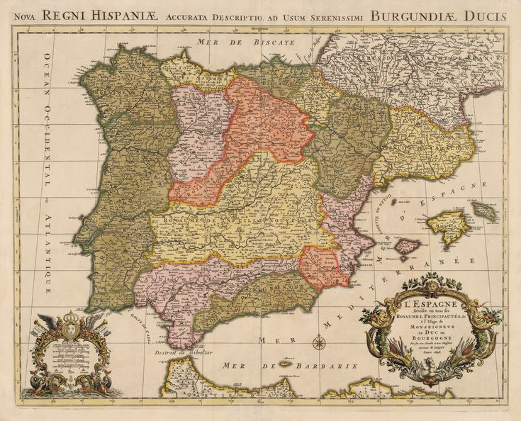 Authentic Antique Map of Spain, Portugal, and the Balearic Islands: L'Espagne Divisee en tous ses Royaumes, Principautes, &c. a l'Usage de Monseigneur le Duc de Bourgogne… By: Alexis-Hubert Jaillot  Date: 1696 (dated) Paris.