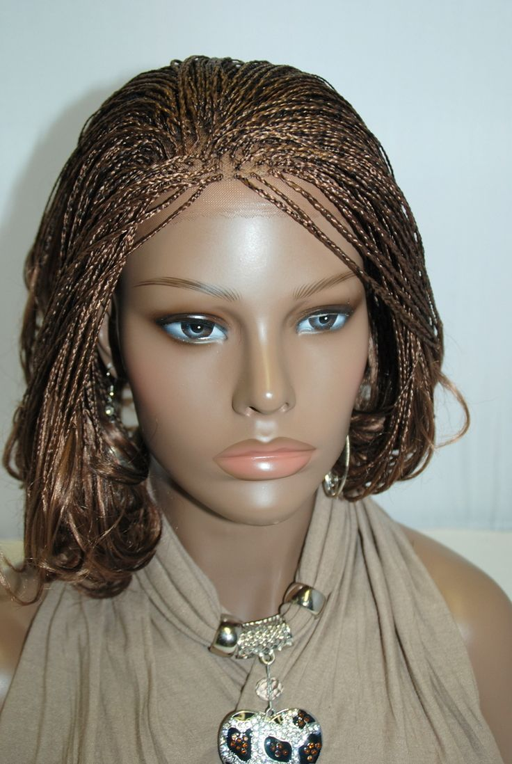 Fully Hand Braided Lace Front Wig Micro Braids Color 27