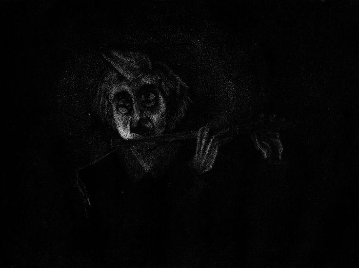 Flautista  Grabado manera negra