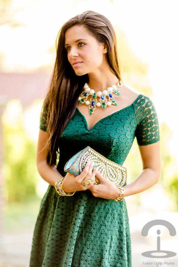Complementos para vestido de fiesta verde botella