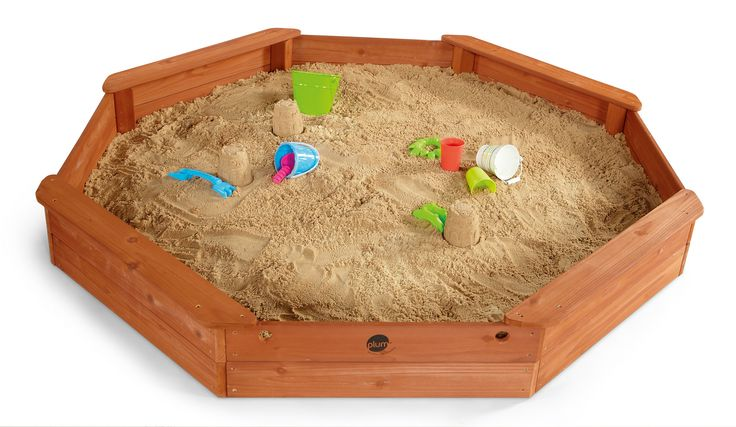 PLUM SAND PIT  From building super sand castles and burying treasure to exploring patterns and textures, a wooden sand pit will help little ones to enjoy creative outdoor fun! Choose from Plum's range of classic wooden sand pits or try an activity table, combining sand with water play, storage and outdoor eating.