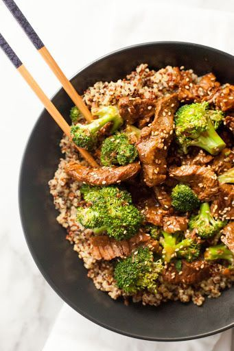 Slow Cooker Beef And Broccoli With Quinoa With Steak, Low Sodium Beef Broth, Soy Sauce, Honey, Sesame Oil, Rice Vinegar, Garlic, Red Pepper Flakes, Corn Starch, Broccoli, Quinoa, Chicken Broth, Sesame Seeds