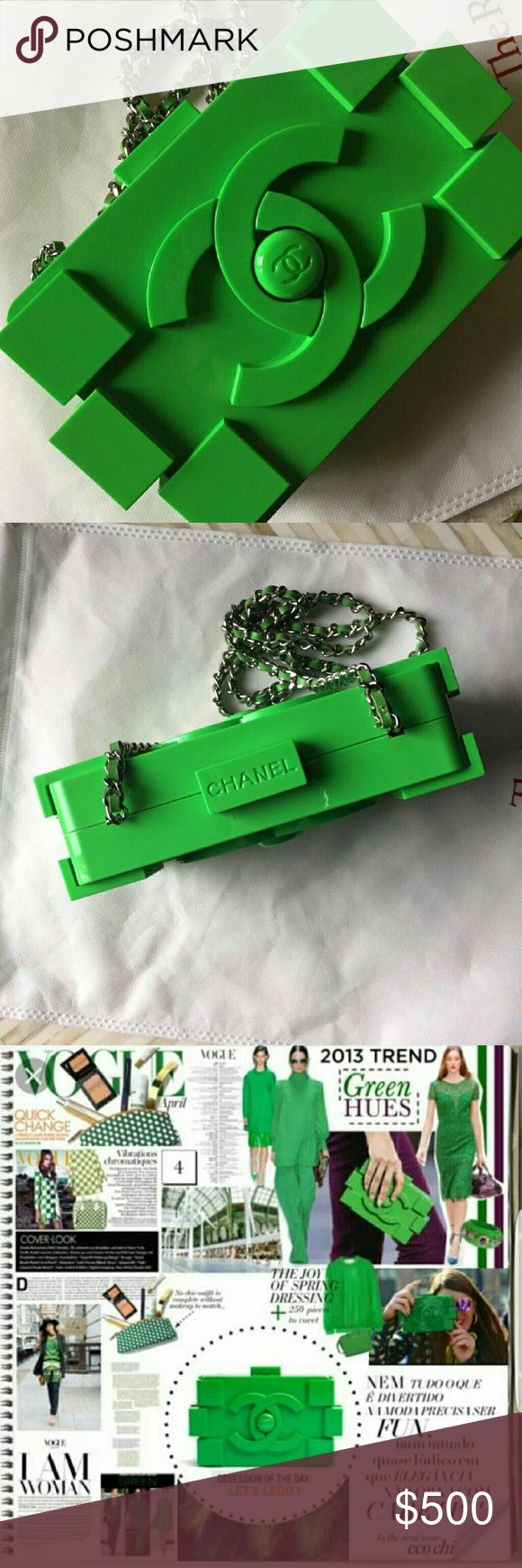 Chanel Lego Plexiglas Clutch with Strap Beautiful Chanel Lego Plexiglas Clutch with Strap Great Gift for Christmas Party Season It will be well packed and be inside a dust cover ~ * ~ Excellent Condition ~ * ~   ~ * ~ No signs of visible wear or damage ~ * ~  Design: ~ Limited Edition Classic Green Plexiglas Lego Clutch  ~  Features large CC logo Front and back ~ May be carried as a clutch over the shoulder ~ Interior is lined in black leather ~ * ~  ~ Main compartment with center zipper…