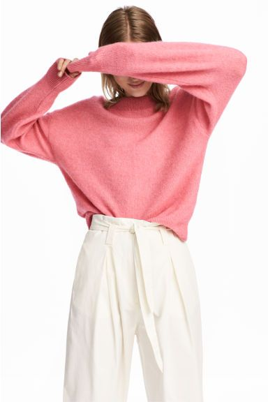 Knitted mohair-blend jumper - Pink marl - Ladies | H&M GB
