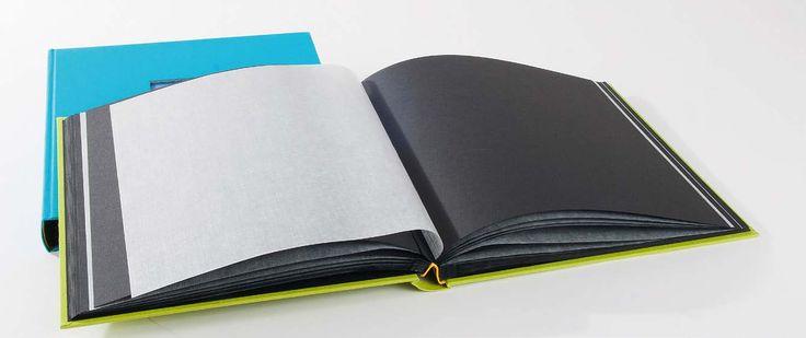 Offenes Fotobuch mit Pergaminzwischeneinlagen - made in Germany