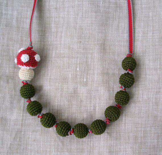 Amigurumi Toadstool Mushroom Crochet Beads Necklace by MariaKonstantin.etsy