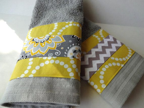 Bathroom towel set grey and yellow towels gray towels by AugustAve, $36.00