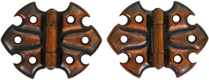Rejuvenation Pair of Petite Japanned Copper Butterfly Hinges c1900