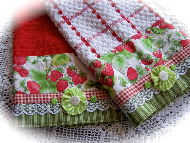 Strawberry towels for the red and white kitchen. www.createdbycath.com  via Flickr