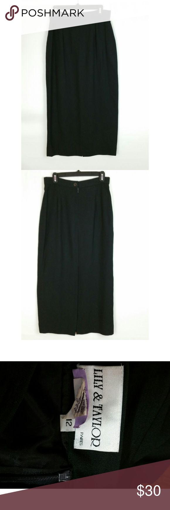 """Lily & Taylor Size 12 Long Black Pencil Skirt Lily & Taylor Paris Size  12 52% acetate, 48% polyester Lined Back zipper Dry clean Beautiful Please check out my other items.  I love to bundle!  Measurements laying flat:  Waist:  15"""" Hips:  19.5"""" Length:  33.75"""" Lily & Taylor Skirts Pencil"""