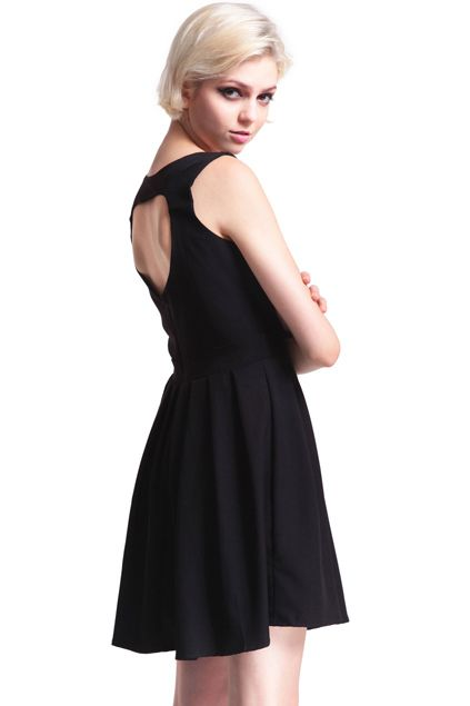 ROMWE   Hollowed Heart Back Black Dress, The Latest Street Fashion #RomwePartyDress