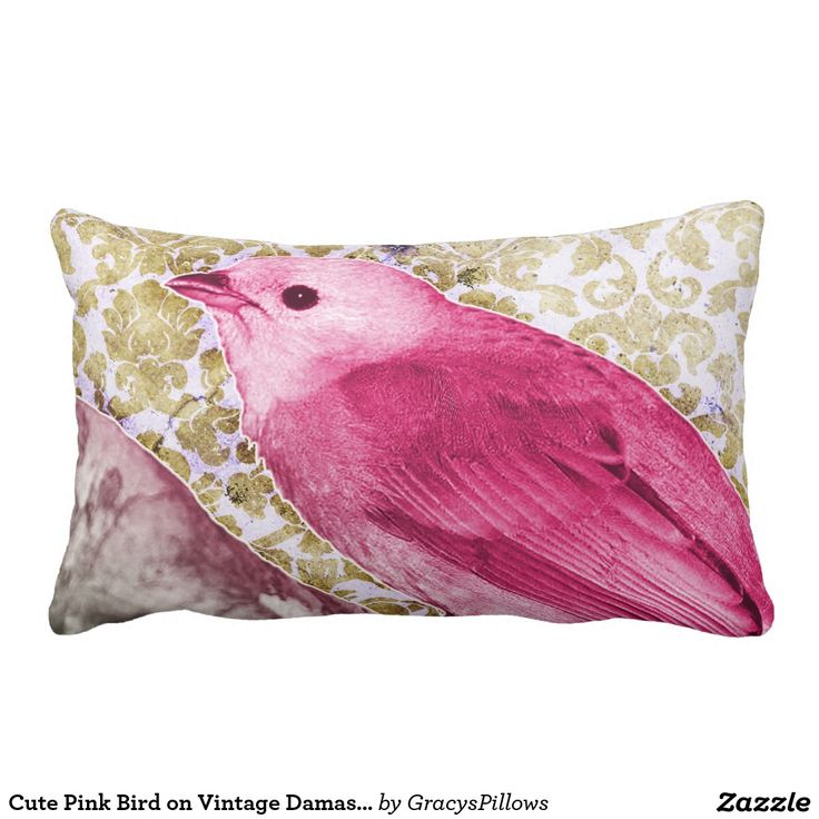 Cute Throw Pillows Pinterest : Cute Pink Bird on Vintage Damask Background Throw Pillow Cool Products Pinterest Pink ...