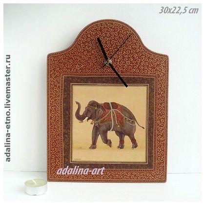 ИНДИЙСКИЙ СЛОН - часы интерьерные - слон,индийский слон,этно,часы,часы настенные