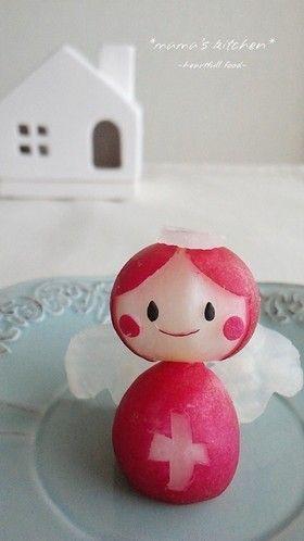 Radish Angel with Black Sesame Seed Eyes