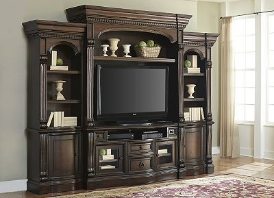 Create a rich and timeless space with our Van Buren entertainment collection. Smoothly finished drawers with full extension guides are perfect for storing remotes. Adjustable shelves for displaying items of various sizes. Spaces for cord management, electrical outlets and a power director allow for easy game and television operation, while the beveled glass doors won't interfere with remote capability.  #HarvertysRefresh