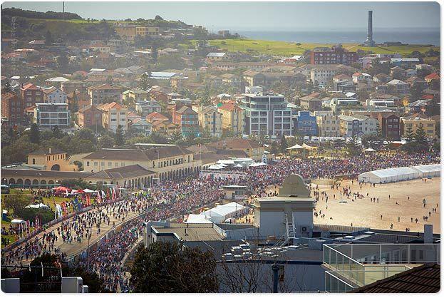 Bondi Beach busy on one of biggest days in Sydney - City2Surf (12 Aug 2012). Over 85,000 people run from Sydney city to Bondi Beach!