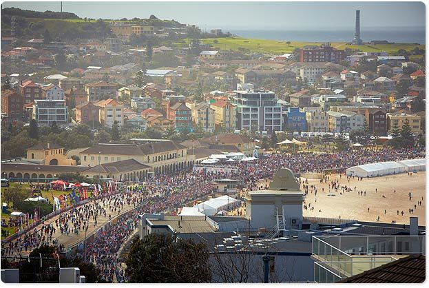 Bondi Beach busy on one of biggest days in Sydney - City2Surf (12 Aug 2012). Over 85,000 people run from Sydney city to Bondi Beach!