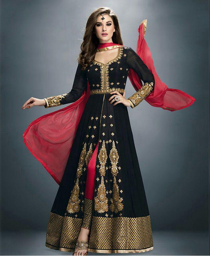 Party Wear Black Embroidered Anarkali Salwar Suit  #salwarsuit #designer #ethnicsuit #shopvoie #pakistanisuit #anarkalisuit #partywear #fancysuit