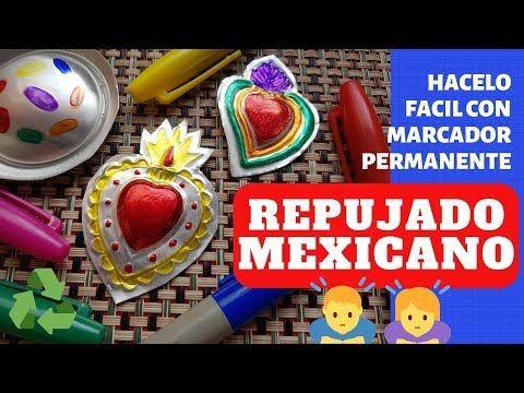 Repujado Mexicano Decóralos Con Plumón O Marcador Permanente Super Facil Youtube Marcadores Permanentes Arte Con Papel De Aluminio Repujado
