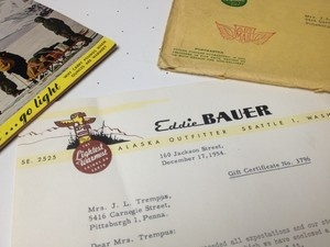 Please check out my auctions for a chance to own Eddie Bauer's Autograph from 1955!