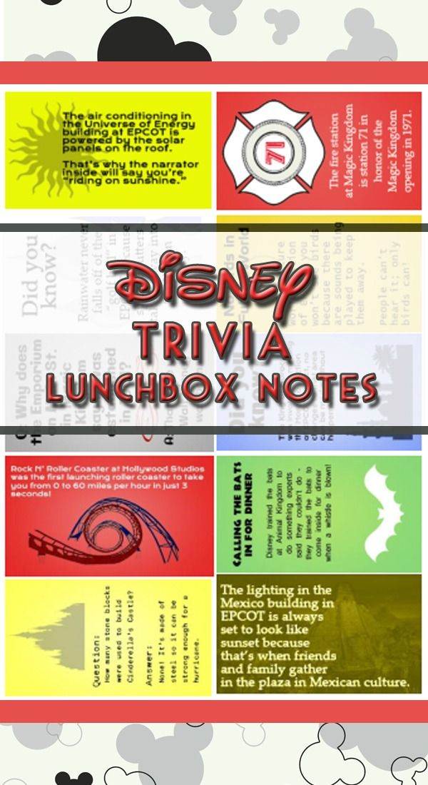 Disney trivia lunchbox notes - Print them off, write a personal note on the back & use as a surprise in a lunchbox