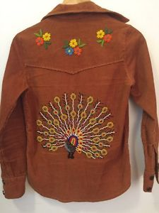 Mint 70's Vintage Denimites Hand Beaded Peacock And Flowers Corduroy Shirt Small  | eBay