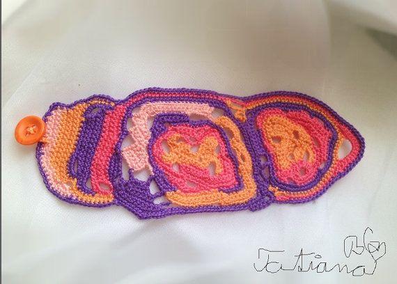 Free form crochet bracelet purple-pink orange by FiBreRomance