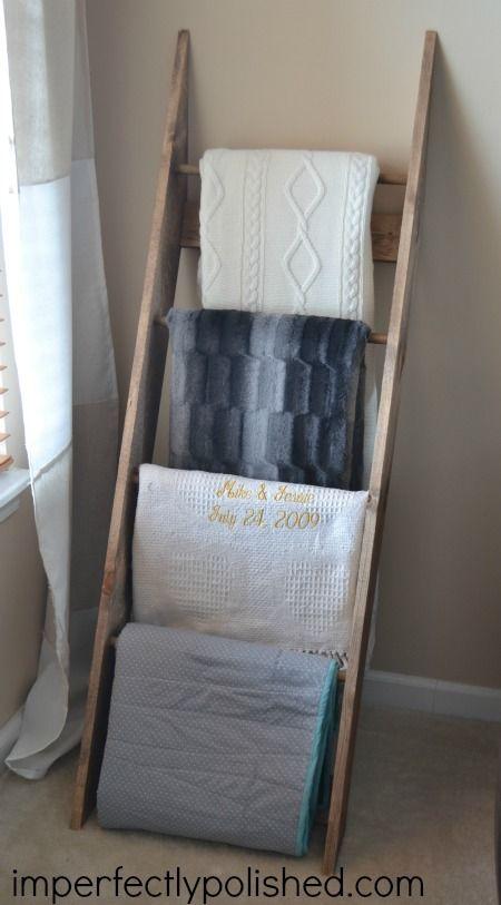 DIY Blanket Rack {Blanket Ladder} | Imperfectly Polished