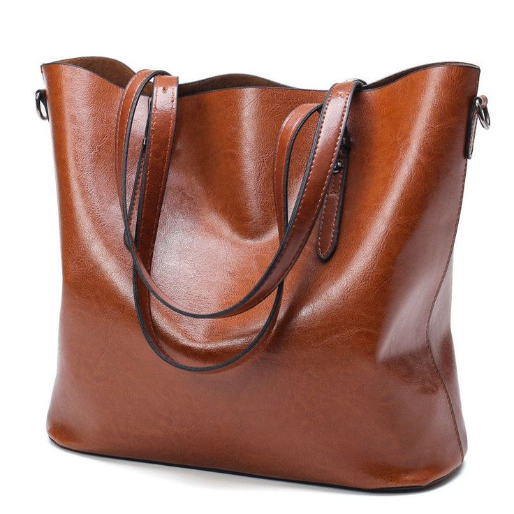 Women's Oil Waxed Leather Handbag - Large Tote